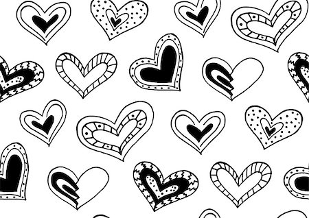 Seamless pattern with the hand drawn ink doodle hearts. Pattern in the swatches panel. Stock Photo - Budget Royalty-Free & Subscription, Code: 400-08498287
