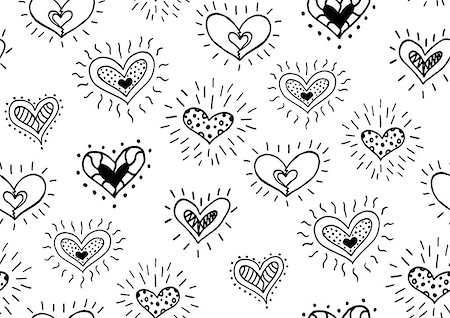 Seamless pattern with the hand drawn ink doodle hearts. Pattern in the swatches panel. Stock Photo - Budget Royalty-Free & Subscription, Code: 400-08498288