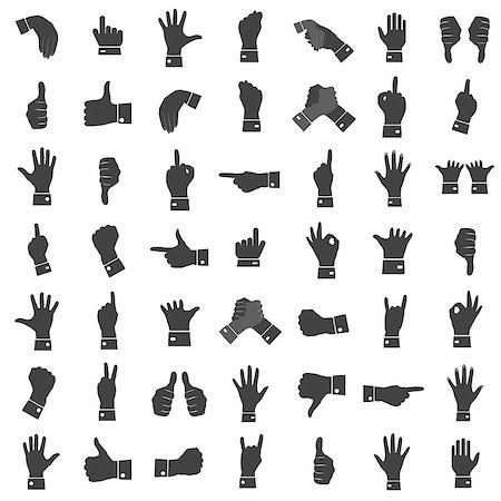 Icons hand gestures, gray on a white background. Male and female hands, vector Stock Photo - Budget Royalty-Free & Subscription, Code: 400-08498707
