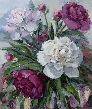 peony art - Bouquet of peonies oil painting on canvas Stock Photo - Budget Royalty-Free & Subscription, Code: 400-08492802