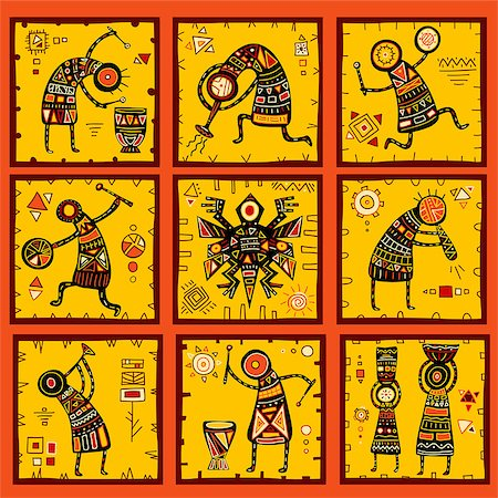 Collection of 9 patterns with African ethnic patterns of yellow, orange, black and red color Stock Photo - Budget Royalty-Free & Subscription, Code: 400-08493198