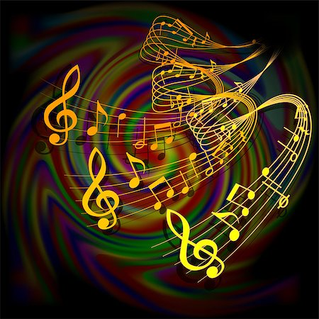 simsearch:400-04676325,k - Vector illustration of musical background waves musical notes on a colored background. Stock Photo - Budget Royalty-Free & Subscription, Code: 400-08493507