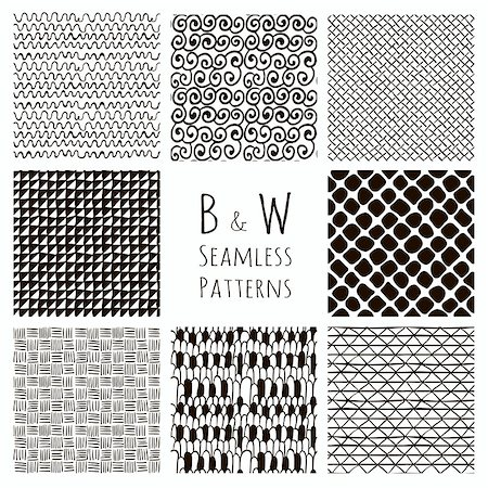 simsearch:400-04476890,k - Set of Eight Abstract Hand Drawn Sketched Geometric Black Seamless Background Patterns. Fully Editable file with Pattern Swatches. Vetor Illustration Stock Photo - Budget Royalty-Free & Subscription, Code: 400-08493995