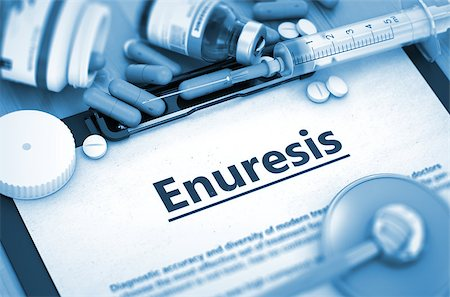 Enuresis, Medical Concept with Selective Focus. Enuresis - Printed Diagnosis with Blurred Text. Enuresis, Medical Concept with Pills, Injections and Syringe. Toned Image. 3D Render. Stock Photo - Budget Royalty-Free & Subscription, Code: 400-08508286