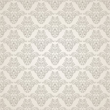 seamless floral - Illustration of seamless floral background in vintage style. Wallpaper with abstract patterns in the form of tiles. Ornament for design and print texture Stock Photo - Budget Royalty-Free & Subscription, Code: 400-08500232