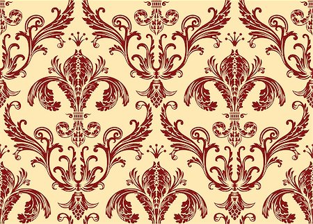 seamless floral - Background antique seamless wallpaper. Red decor vintage Stock Photo - Budget Royalty-Free & Subscription, Code: 400-08500279
