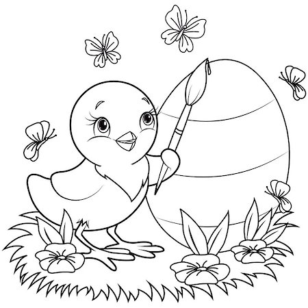flower drawings black - Color page of an Easter Chicken is painting an egg Stock Photo - Budget Royalty-Free & Subscription, Code: 400-08500661