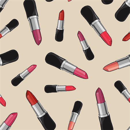 Seamless pattern with beauty lipsticks.  Vector illustration. original cosmetics background. Useful for invitations, scrapbooking, design. Stock Photo - Budget Royalty-Free & Subscription, Code: 400-08501236