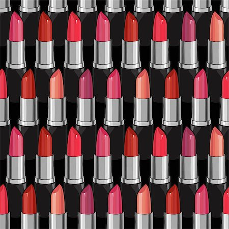 Seamless pattern with beauty lipsticks.  Vector illustration. original cosmetics background. Useful for invitations, scrapbooking, design. Stock Photo - Budget Royalty-Free & Subscription, Code: 400-08501237