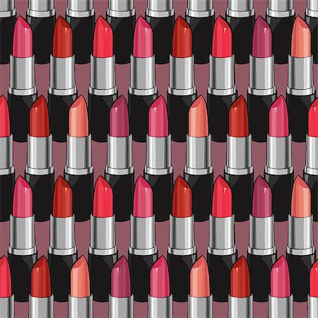 Seamless pattern with beauty lipsticks.  Vector illustration. original cosmetics background. Useful for invitations, scrapbooking, design. Stock Photo - Budget Royalty-Free & Subscription, Code: 400-08501239