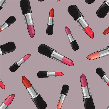 Seamless pattern with beauty lipsticks.  Vector illustration. original cosmetics background. Useful for invitations, scrapbooking, design. Stock Photo - Budget Royalty-Free & Subscription, Code: 400-08501240