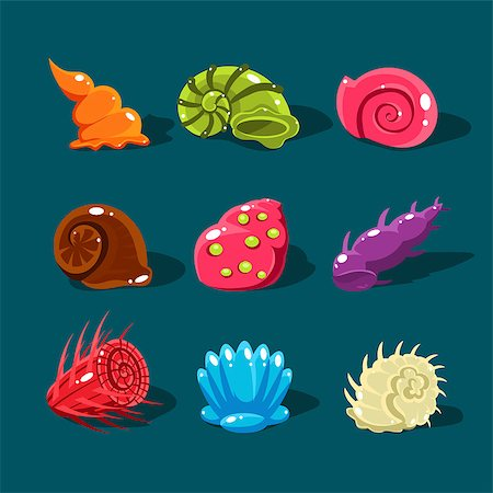 simsearch:400-04638538,k - Vector Collection of Colorful Shells. Cartoon game elements Stock Photo - Budget Royalty-Free & Subscription, Code: 400-08501701