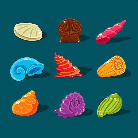 simsearch:400-04638538,k - Vector Collection of Colorful Shells. Cartoon game elements Stock Photo - Budget Royalty-Free & Subscription, Code: 400-08501702