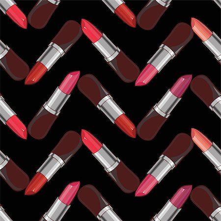 Seamless pattern with lipsticks.  Vector illustration. Useful for invitations. Stock Photo - Budget Royalty-Free & Subscription, Code: 400-08502311