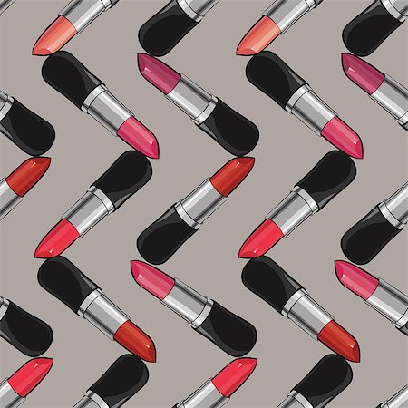 Seamless pattern with lipsticks.  Vector illustration. Useful for invitations. Stock Photo - Budget Royalty-Free & Subscription, Code: 400-08502312