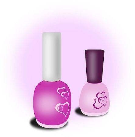 Two bottles of pink nail polish against a white and pink background. Stock Photo - Budget Royalty-Free & Subscription, Code: 400-08502338