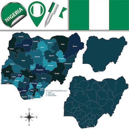 Vector map of Nigeria with named states and travel icons Stock Photo - Budget Royalty-Free & Subscription, Code: 400-08502417
