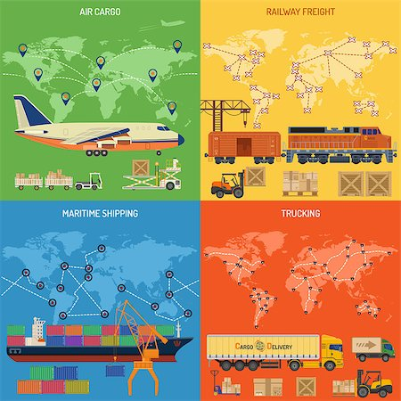 Trucking Industry Banners with Railway Freight, Air Cargo, Maritime Shipping and Trucking in Flat style icons. Vector for Brochure, Web Site and Printing Advertising on theme delivery of goods. Stock Photo - Budget Royalty-Free & Subscription, Code: 400-08528616