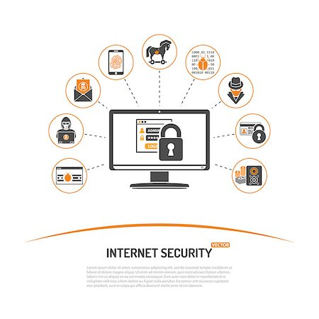 Internet Security Concept with Icon Set for Flyer, Poster, Web Site Like Hacker, Virus, Spam and Safe. Stock Photo - Budget Royalty-Free & Subscription, Code: 400-08528622