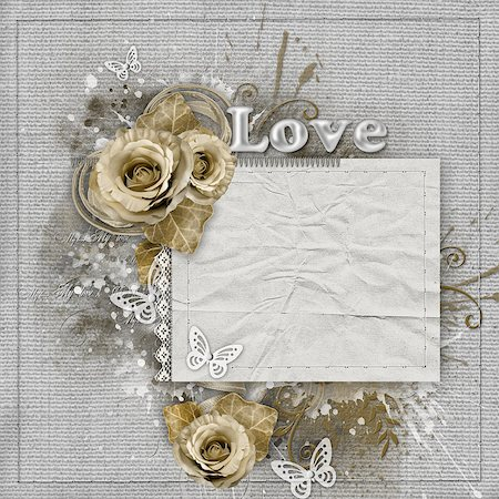 decoration wedding rose vintage - Vintage background with beige roses, lace, ribbon, paper card Stock Photo - Budget Royalty-Free & Subscription, Code: 400-08528676