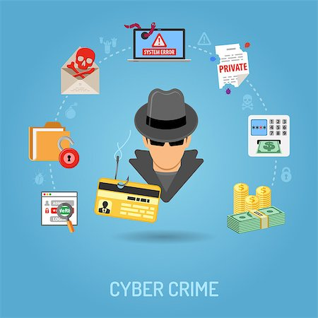 Cyber Crime Concept with Flat Icons for Flyer, Poster, Web Site on Theme Phishing. Stock Photo - Budget Royalty-Free & Subscription, Code: 400-08529464