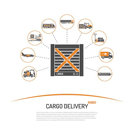 Cargo Delivery Concept with Icon Set such as Plane, Truck, Ship. Vector for Brochure, Web Site and Printing Advertising on theme delivery of goods. Stock Photo - Budget Royalty-Free & Subscription, Code: 400-08529465