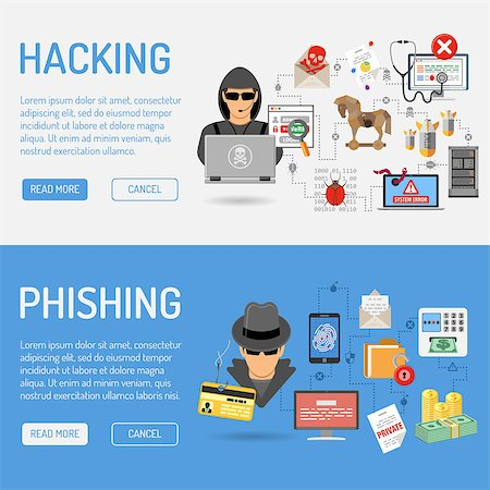 Cyber Crime Banners for Flyer, Poster, Web Site, Printing Advertising Like Hacker and Social Engineering. Stock Photo - Budget Royalty-Free & Subscription, Code: 400-08529463