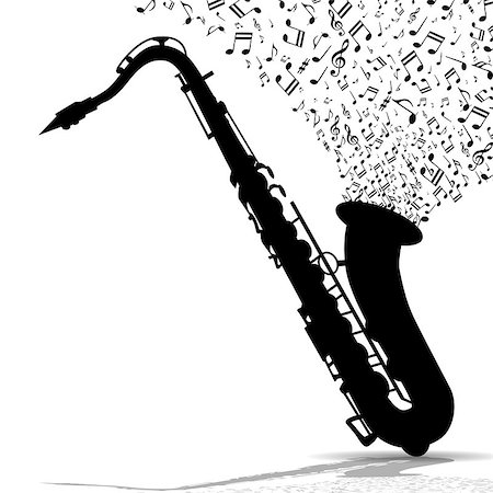 silhouette musical symbols - Illustration silhouette of saxophone with musical notes as symbol of music. Stock Photo - Budget Royalty-Free & Subscription, Code: 400-08529984