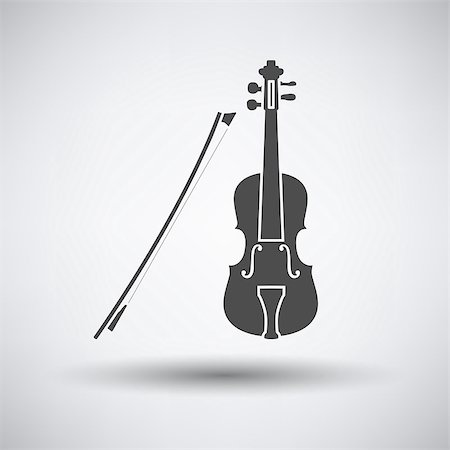 silhouette musical symbols - Violin icon on gray background with round shadow. Vector illustration. Stock Photo - Budget Royalty-Free & Subscription, Code: 400-08530110