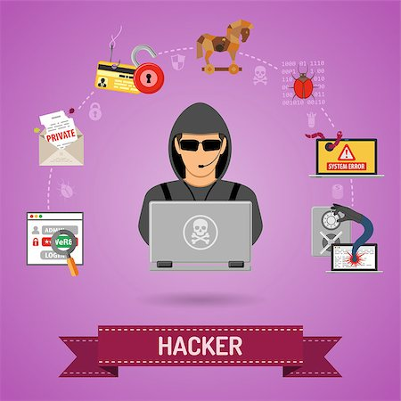 Cyber Crime Concept for Flyer, Poster, Web Site, Printing Advertising Like Hacker, Virus, Bug, Error, Spam and Social Engineering. Stock Photo - Budget Royalty-Free & Subscription, Code: 400-08530669