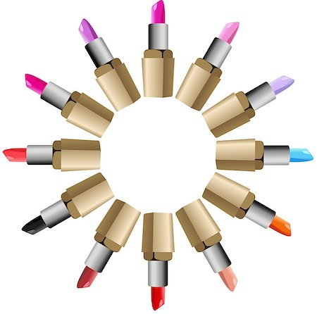Scalable vectorial image representing a lipstick round palette set, isolated on white. Stock Photo - Budget Royalty-Free & Subscription, Code: 400-08530869