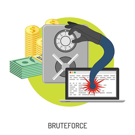 Internet Security and Cyber Crime Concept with Flat Icon Like Safe, Laptop, Money and Bruteforce. Vector for Flyer, Poster, Web Site and Printing Advertising. Stock Photo - Budget Royalty-Free & Subscription, Code: 400-08531347