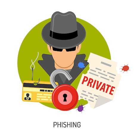 Cyber Crime Concept with Flat Icons for Flyer, Poster, Web Site on Theme Phishing. Stock Photo - Budget Royalty-Free & Subscription, Code: 400-08531349