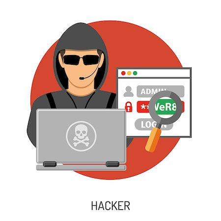 Cyber Crime Concept for Flyer, Poster, Web Site, Printing Advertising Like Hacker, Virus, Bug, Error, Spam and Social Engineering. Stock Photo - Budget Royalty-Free & Subscription, Code: 400-08531350