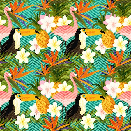 seamless floral - Tropical Geometric Summer. Tropical summer abstract seamless pattern background. Stock Photo - Budget Royalty-Free & Subscription, Code: 400-08532682
