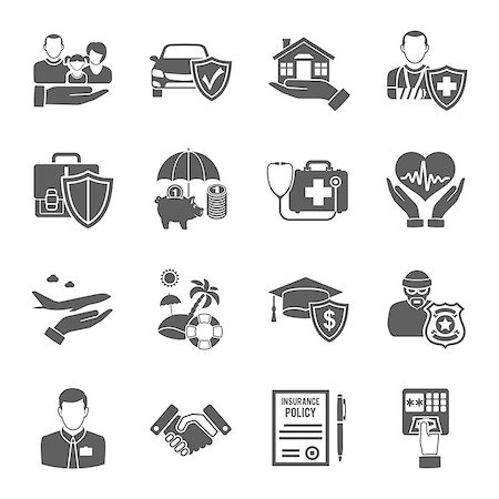 Insurance Icons Set for Poster, Web Site, Advertising like House, Car, Medical and Business . Stock Photo - Budget Royalty-Free & Subscription, Code: 400-08532838