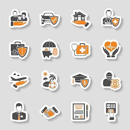 Insurance Icons Sticker Set for Poster, Web Site, Advertising like House, Car, Medical and Business . Stock Photo - Budget Royalty-Free & Subscription, Code: 400-08532839