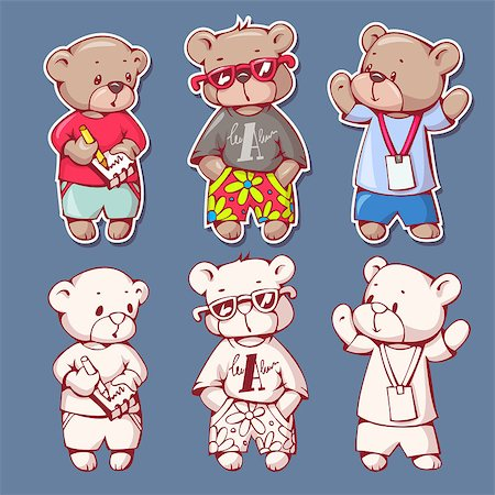 simsearch:400-04598294,k - Vector set of  funny cartoon bears, isolated from a background. Monochrome and color version. Hand-drawn illustration. Stock Photo - Budget Royalty-Free & Subscription, Code: 400-08533506