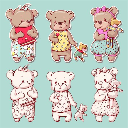 simsearch:400-04598294,k - Vector set of  funny cartoon bears, isolated from a background. Monochrome and color version. Hand-drawn illustration. Stock Photo - Budget Royalty-Free & Subscription, Code: 400-08533507