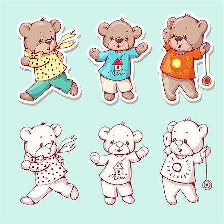 simsearch:400-04598294,k - Vector set of  funny cartoon bears, isolated from a background. Monochrome and color version. Hand-drawn illustration. Stock Photo - Budget Royalty-Free & Subscription, Code: 400-08533847
