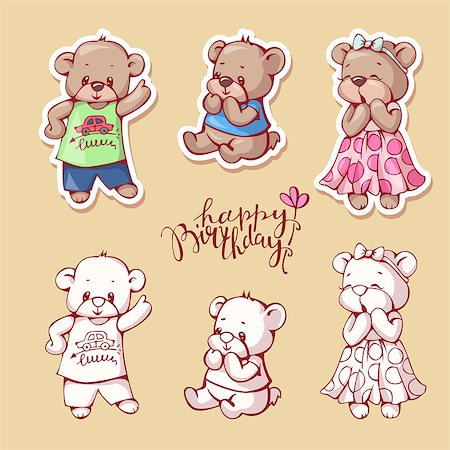 simsearch:400-04598294,k - Vector set of  funny cartoon bears, isolated from a background. Monochrome and color version. Hand-drawn illustration. Stock Photo - Budget Royalty-Free & Subscription, Code: 400-08533848