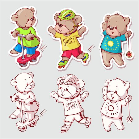 simsearch:400-04598294,k - Vector set of  funny cartoon bears, isolated from a background. Monochrome and color version. Hand-drawn illustration. Stock Photo - Budget Royalty-Free & Subscription, Code: 400-08533849