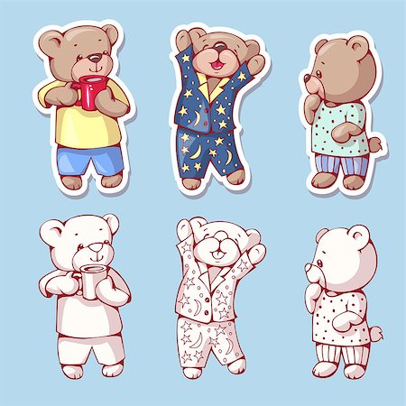 simsearch:400-04598294,k - Vector set of  funny cartoon bears, isolated from a background. Monochrome and color version. Hand-drawn illustration. Stock Photo - Budget Royalty-Free & Subscription, Code: 400-08533850