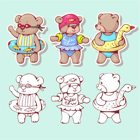 simsearch:400-04598294,k - Vector set of  funny cartoon bears with  swimming circles, isolated from a background. Monochrome and color version. Hand-drawn illustration. Stock Photo - Budget Royalty-Free & Subscription, Code: 400-08533966