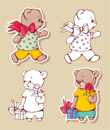 simsearch:400-04598294,k - Vector set of  funny cartoon bears, isolated from a background. Monochrome and color version. Hand-drawn illustration. Stock Photo - Budget Royalty-Free & Subscription, Code: 400-08533967