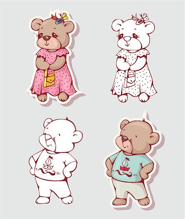 simsearch:400-04598294,k - Vector set of  funny cartoon bears, isolated from a background. Monochrome and color version. Hand-drawn illustration. Stock Photo - Budget Royalty-Free & Subscription, Code: 400-08533968