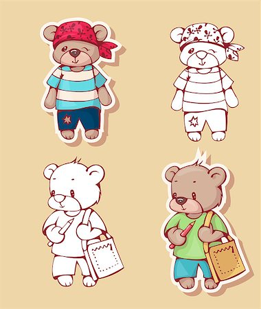 simsearch:400-04598294,k - Vector set of  funny cartoon bears, isolated from a background. Monochrome and color version. Hand-drawn illustration. Stock Photo - Budget Royalty-Free & Subscription, Code: 400-08533969