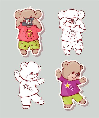 simsearch:400-04598294,k - Vector set of  funny cartoon bears, isolated from a background. Monochrome and color version. Hand-drawn illustration. Stock Photo - Budget Royalty-Free & Subscription, Code: 400-08533975