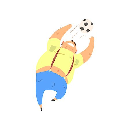 fat man balls - Fat Guy Playing Football Flat Vector Cartoon Style Funny Illustration On White Background Stock Photo - Budget Royalty-Free & Subscription, Code: 400-08554473