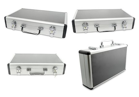 silver box - four metallic suitcase isolated on white background Stock Photo - Budget Royalty-Free & Subscription, Code: 400-08554739